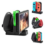 MENEEA Charging Dock for Nintendo Switch, Charger Station Stand for Joy-Cons and Pro Controller with LED Indication and Type-C USB Charger Cable