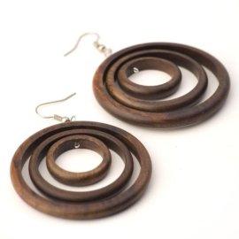 535625113 81stgeneration Women's Wood .925 Sterling Silver Round Brown Dangle Hoop  Earrings