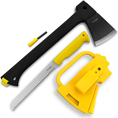 Yes4All Multi Functional Camping Axe H307 with Saw + Fire Starter (Yellow)
