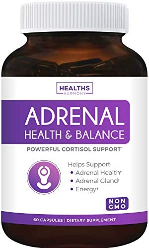 Adrenal Support & Cortisol Manager (Non-GMO) Powerful Adrenal Health with L-Tyrosine & Ashwagandha - Maintain Balanced Cortisol Levels & Stress Relief - Fatigue Supplement - 60 Capsules 1