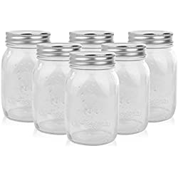 Golden Spoon Mason Jars With Lids, Regular Mouth, Dishwasher Safe, BPA Free, (Set of 6) (16 oz/Pint)
