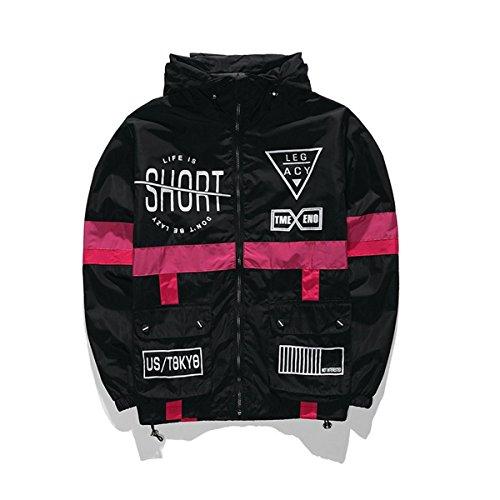 WEIPENG Men's Fashion Lightweight Hoodie Zip-up Letter Windbreaker Jacket (Medium, Black)