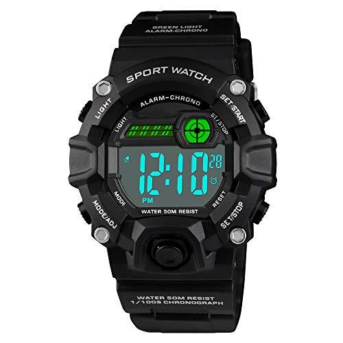 Venhoo Digital Kids Watches Outdoor Sport Waterproof Electronic LED Alarm Stopwatch Luminous Wrist Watch for Kids Boys Girls-Black