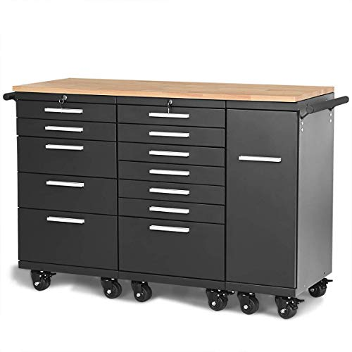 Goplus Tool Cabinet Storage Tool Chest Rolling Steel 12 Drawers with Wheels Work Station Rubber Wood Top Tool Organizer, Black