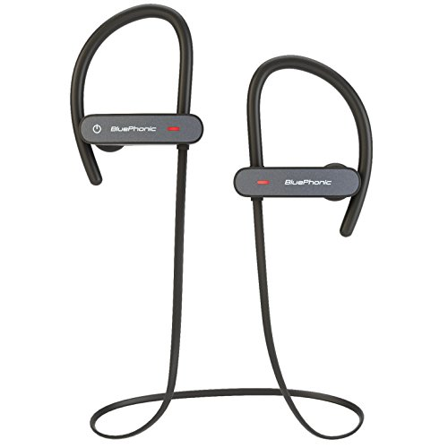 Bluephonic Bluetooth Wireless Headphones | HD Stereo Beats Sound | IPX7 Sweat & Water Proof Fit in Ear Workout Sport Earbuds | Noise Cancelling Running Earphones | Built in Mic | Play 8 hr (Black)