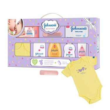 Johnsons-Baby-Care-Collection-Baby-Gift-Set-with-Organic-Cotton-Baby-Dress-8-Pieces