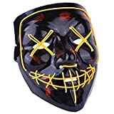 heytech LED Mask Halloween Scary Mask Cosplay Led Costume Mask EL Wire Light up for Halloween Festival Party Yellow