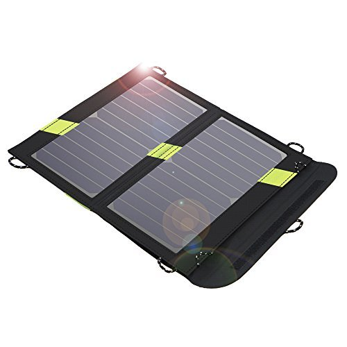 X-DRAGON Solar Charger, 14W SunPower Solar Panel with SolarIQ Technology& Dual USB Port Compatible with iPhone X 8, ipad Mini, Cell Phone, Android, Outdoor, Camping