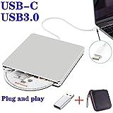 External DVD CD Drive USB3.0 NOLYTH USB C Superdrive DVD+/-RW CD+/-RW Writer Burner Player with Aluminum alloy for Mac/Macbook Pro/Air/Laptop/Windows(Silver)
