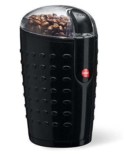 Quiseen One-Touch Electric Coffee Grinder. Grinds Coffee Beans, Spices, Nuts and Grains - Durable Stainless Steel Blades (Black)
