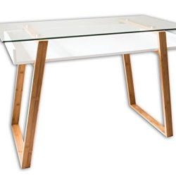 bonVIVO Home Office Writing Desk Massimo – Contemporary Desk Combining Glass and Wood, Small Modern Desk with Bamboo Legs and White Glazed Shelf, Usable As Computer Desk, Office Desk, Laptop Desk