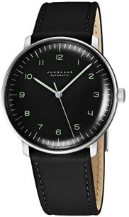 Junghans Max Bill Automatic Mens Watch - 38mm Analog Black Face Classic Watch with Luminous Hands - Stainless Steel Black Leather Band Luxury Watch for Men Made in Germany 027/3400.00