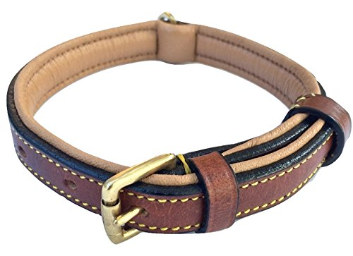 Brown And Cream Leather Dog Collar Padded