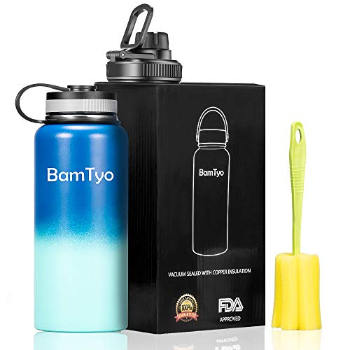 BamTyo 32 Oz Stainless Steel Water Bottle/Cups, Wide Mouth Double Walled Vacuum Insulated Leak Proof Sports Thermos,Powder Coated Travel Mug with 2 BPA Free Lids,Hot for 24 Hours,Cold for 12 Hours