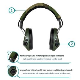 Sordin-Supreme-PRO-X-Adjustable-Active-Safety-Ear-Muffs-Hearing-Protection-Camo-Canvas-Headband-and-Green-Cups