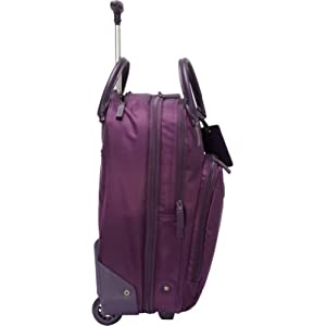 17.75 inches high including the wheels, double carry handles and a mono-tube telescopic handle