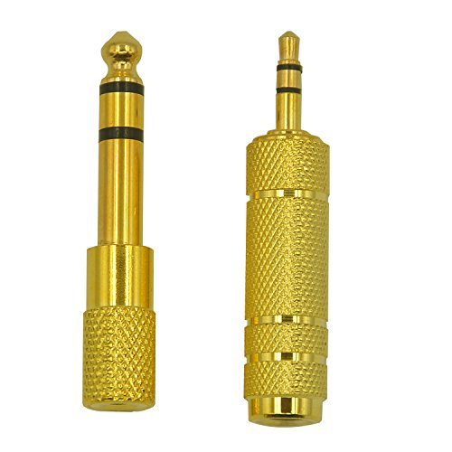 FineInno 3.5 mm Stereo Male to 6.35 mm (1/ 4 Inch) and 6.35mm to 3.5mm Gold Plated Stereo Female Audio Jack Converter Headphone Adapter for Mobile Phone, Computer, Guitar AMP(2PCS)