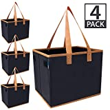 """Urban House AUH-SB4BK Large Collapsible Grocery Shopping Tote Box with Reinforced Bottom, 14""""L x 11""""W x 11""""H (Pack of 4), Black with Brown Trim"""