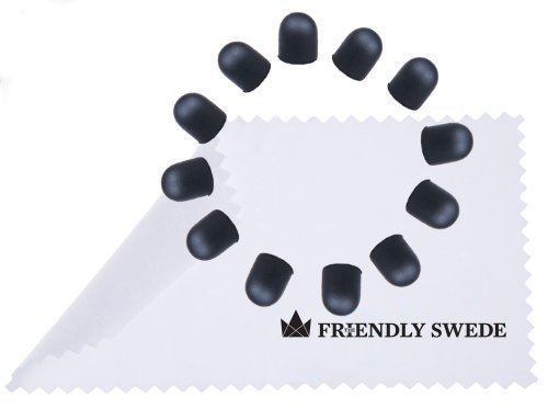 The Friendly Swede 12 Soft Replacement Tips for The Friendly Swede 5.5' High Precision Stylus Pen + Cleaning Cloth in Retail Packaging