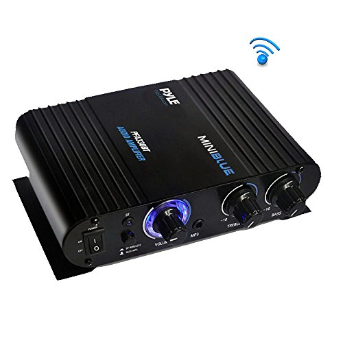 Wireless Bluetooth Home Audio Amplifier - 90W Dual Channel Mini Portable Power Stereo Sound Receiver w/ Speaker Selector, RCA, AUX, LED, 12V Adapter - For iPad, iPhone, PA, Studio Use - Pyle PFA330BT