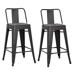 AC Pacific Modern Industrial Metal Barstool with Bucket Back and 4 Leg Design, 24″ Seat Bar Stools (Set of 2), Matte Black Finish