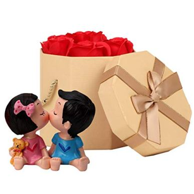 TIED-RIBBONS-Valentine-Gift-for-Husband-Wife-Girlfriend-Boyfriend-Girls-Boys-Light-Couple-Gift-Romantic-Gift-Pack-Couple-Showpiece-Figurine-and-Scented-Rose-Flowers-with-Gift-Box