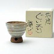 Japanese ceramic Hagi yaki (Hagi-ware) made by Kohei Tanaka. Guinomi Sake cup with wooden box.
