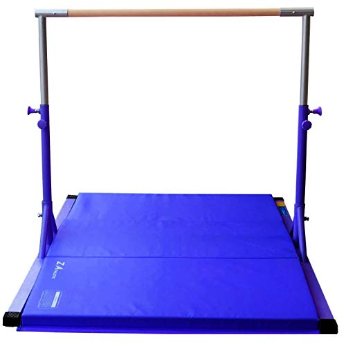Z Athletic Elite Gymnastics bar Adjustable Height for Kips, Training & 4' x 6' x 2in Mat (Blue)