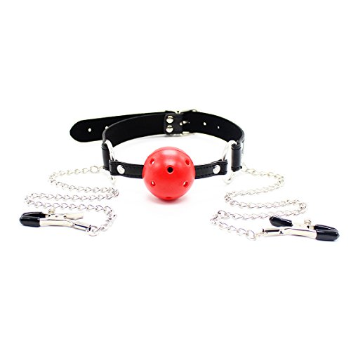 Fetish Fantasy Red Plastic Ball Gag Leather Strap With Nipple Clamps Nipple Clips Nipple Jewelry Nipple Toy