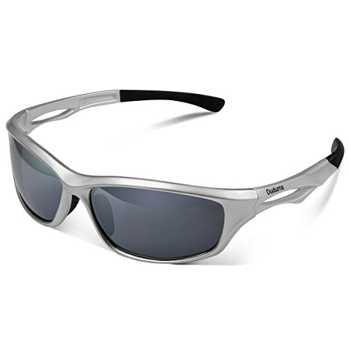 Duduma Polarized Sports Sunglasses Sports Wrap for Running Cycling Fishing Golf Tr90 Unbreakable Frame (silver/black)