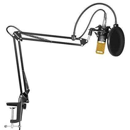 Neewer-Professional-Studio-Broadcasting-Recording-Condenser-Microphone-NW-35-Adjustable-Recording-Microphone-Suspension-Scissor-Arm-Stand-with-Shock-Mount-and-Mounting-Clamp-Kit