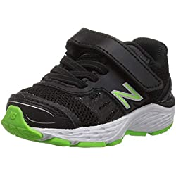 New Balance Boys' 680v5 Hook and Loop Running Shoe Black/RBG Green 5.5 M US Toddler