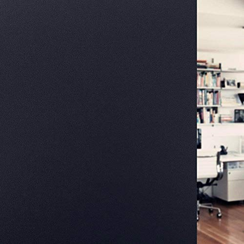 Artviva Blackout Window Film 100% Sun Blocking Film Privacy Static Glass Window Cling Residential Window Tinting Treatment for Room Darkening/Privacy/Day Sleep - No Glue, Easy Installation 17.7'x79'