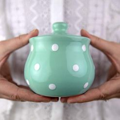 Teal Blue Polka Dot Sugar Bowl