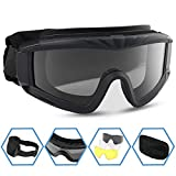 XAegis Airsoft Goggles, Tactical Safety Goggles Anti Fog Military Eyewear with 3 Interchangable Lens for Paintball Riding Shooting Hunting Cycling - Black