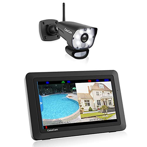 CasaCam VS1001 Wireless Security Camera System with AC Powered HD Spotlight Camera and 7' Touchscreen Monitor (1-cam kit)