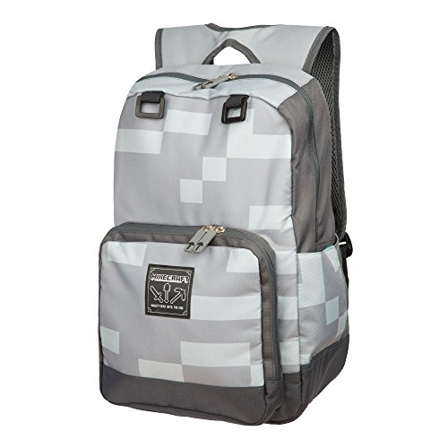 JINX Minecraft Miner Kids Backpack (Grey, 18') for School, Camping & Fun