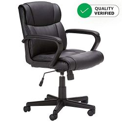 Amazon Basics Leather-Padded, Adjustable, Swivel Office Desk Chair with Armrest, Black