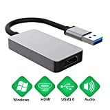 Trevoz USB to HDMI Adapter, 1080P HD Audio Video Cable Converter, USB 3.0 to HDMI for Multiple Monitors, Compatible with Windows XP/10/8.1/8/7 (Not Support Mac, Vista) (Silver)