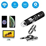 Wireless Digital Microscope, Skybasic 50X to 1000X WiFi Handheld Zoom Magnification Endoscope Magnifier 1080P FHD 2.0 MP 8 LED Compatible with Android and iOS Smartphone or Tablet, Windows Mac PC