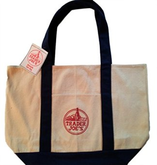 Reusable Fashion Tote Bag From Trader Joes. Heavy-duty Cotton Canvas Shoulder Bag with Handles.