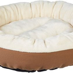 AmazonBasics Round Bolster Dog Bed with Flannel Top
