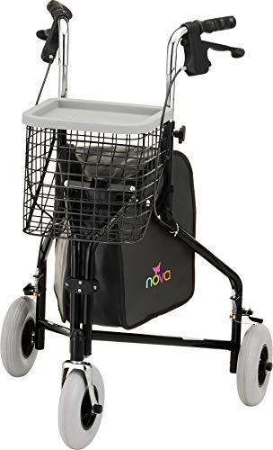 NOVA Traveler 3 Wheel Rollator Walker, All Terrain 8' Wheels, Includes Bag, Basket and Tray, Black