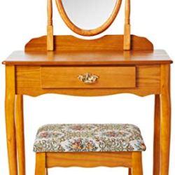 Crown Mark Vanity Set, Oak