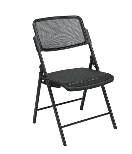 Office Star Deluxe Breathable ProGrid Seat and Back Folding Chair, 2-Pack, Black Finish Frame, Black Seat