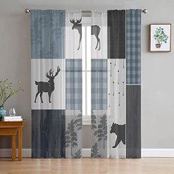 Forest Elk Patchwork Curtain Set