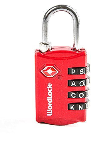 Wordlock LL-206-RD TSA Approved Combination Luggage Lock – 4 Dial, Red