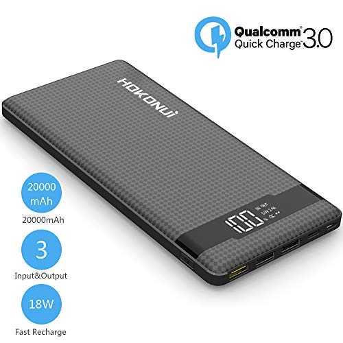 Portable Charger Power Bank, Hokonui 20000mAh External Battery Packs Quick Charge 3.0 with 3 Inputs & 3 Outputs Compatible for iPhone, Samsung Galaxy S9 Plus/S9/S8 Plus/S8, iPad and More