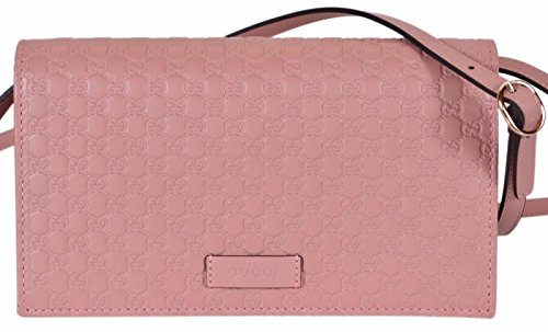 """41DTtCPrVYL Soft Pink Calf Leather, Micro GG Guccissima Pattern """"Gucci"""" Leather Tab on Front of Bag, Golden Hardware Removable/Adjustable Crossbody Strap with a 21"""" Drop"""