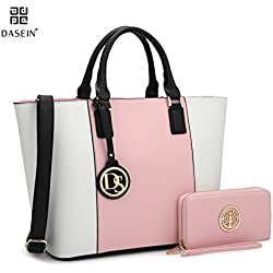 Dasein Women's Top Handle Structured Two Tone Tote Bag Satchel Handbag Shoulder Bag With Shoulder Strap (6417 Pink/White)